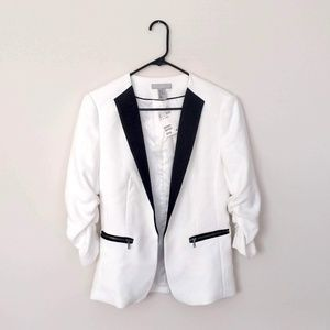 H&M Black and White Lined Blazer w/ Ruched Sleeves